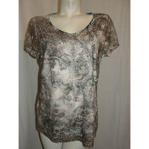 Brown Blk Mesh Front Embellished Rhinestones Tunic